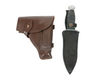 Leather holster and knife in scabbard Stock Photos
