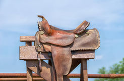 Leather horse saddle Stock Images