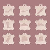 Leather icon set. Shoes & accessory Royalty Free Stock Image