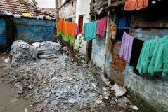 Leather industry of Kolkata. A view of a slum in a leather industries area Royalty Free Stock Photo