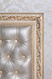 Leather interior in antique carved frame. On a light background Royalty Free Stock Image