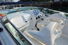 Leather interior of an open deck boat at the Singapore Yacht Show 2013 Royalty Free Stock Images
