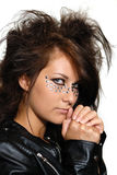 Leather Jacket. Girl in leather jacket with makeup for masquerade Royalty Free Stock Images