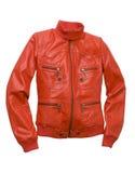 Leather jacket. Red jacket isolated on white stock photos