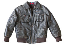 Leather jacket. Isolated  leather jacket on white Stock Photos