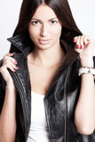 In leather jacket Royalty Free Stock Images