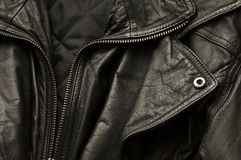 Leather Jacket. Black Leather Jacket. Close up detail Royalty Free Stock Photo