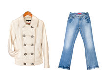 Leather jacket and blue jeans Stock Photos