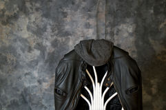 Leather jacket and cap Stock Images