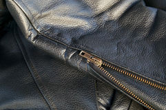 Leather jacket detail with zipper Stock Photos
