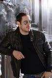 Leather jacket guy stock photo