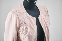 Leather jacket hanging on a mannequin Stock Images