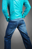 Leather jacket & jeans Royalty Free Stock Photo