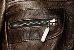 Leather jacket pocket Royalty Free Stock Photos