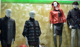Leather jacket in a shop window Stock Images