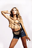 In leather jacket and shorts Royalty Free Stock Photo