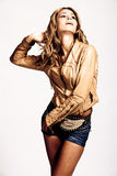 In leather jacket and shorts Stock Photo