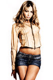 In leather jacket and shorts stock photos