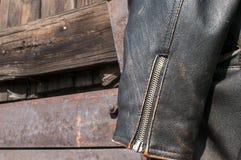Leather jacket sleeve closeup Stock Photography