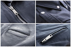 Leather jacket texture Stock Photos