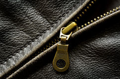 Leather Jacket Zipper Stock Photo