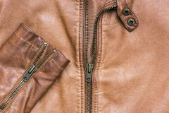 Leather jacket with zipper Stock Photo