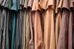Leather jackets. Photograph of leather jackets hanging up in a row together Stock Images
