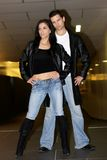Leather jackets. Couple wearing leather jacket at a fashion photoshoot stock images