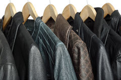 Leather jackets. Collection of leather jackets on hangers Stock Photo