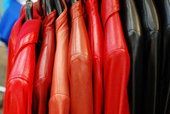 Leather jackets. At the market Stock Photos