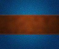 Leather on Jeans Royalty Free Stock Photo