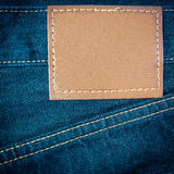 Leather jeans label sewed Stock Photos