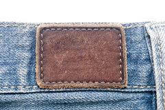 Leather jeans label Stock Photography