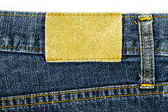 Leather jeans label sewed on jeans. Royalty Free Stock Photo