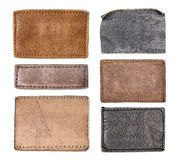 Leather jeans labels, leather tags. Royalty Free Stock Photos