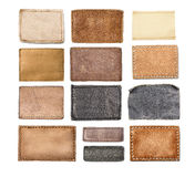 Leather jeans labels, leather tags. Royalty Free Stock Images