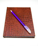 Leather Journal and Pen Royalty Free Stock Images