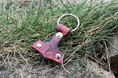 Leather keychain Mjollnir. Leather keychain handcrafted by me Royalty Free Stock Photography