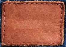 Leather label. On jeans Close-up Stock Photo