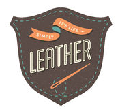 Leather label for creative design project. Vector illustration. Royalty Free Stock Images