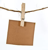 Leather label hanging on rope Royalty Free Stock Photos