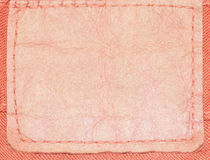 Leather label of jean. Leather label of a red jeans Royalty Free Stock Photos
