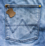 Leather label in a jeans pocket Royalty Free Stock Image