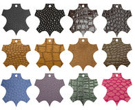 Leather labels  different colors and texture Stock Photos