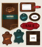 Leather labels and tags Royalty Free Stock Images