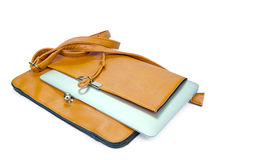 Leather Ladies Handbag with Tablet PC Royalty Free Stock Photo