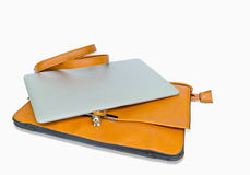 Leather Ladies Handbag with Tablet PC Stock Image