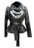 Leather ladies jacket, isolated Royalty Free Stock Photography