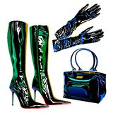Leather latex bag boots elegant  fashion Stock Photo