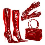 Leather latex bag boots elegant  fashion Stock Images